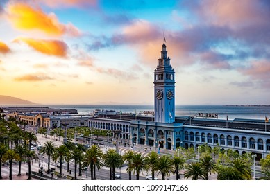 San Francisco Ferry Building at Sunset, Port of San Francisco, California