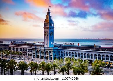 San Francisco Ferry Building at Sunset, Port of San Francisco, California