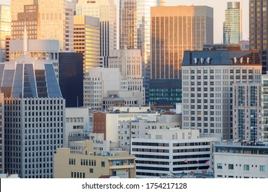 San Francisco Financial District Close-up at Sunset, via Russian Hill