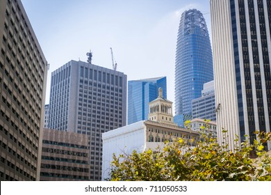 San Francisco financial district skyline with old and new office buildings, California