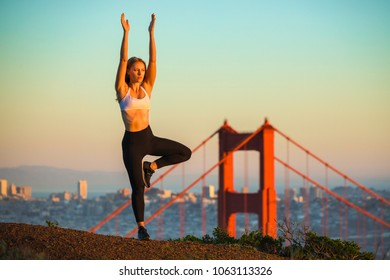 San Francisco Fitness Yoga Model - Female - Golden Gate Bridge