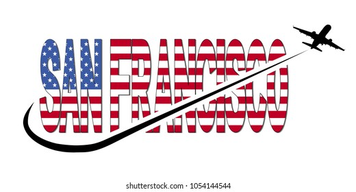 San Francisco flag text with plane silhouette and swoosh illustration