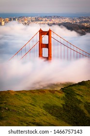 San Francisco Golden Gate Bridge Covered in Thick Fog / Clouds