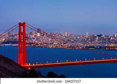 San Francisco and Golden Gate Bridge at night