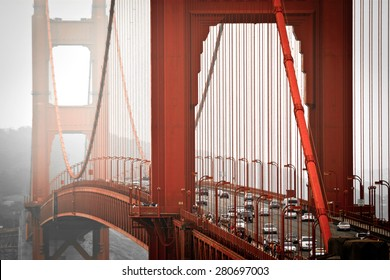 San Francisco, Golden Gate bridge from above, misty weather