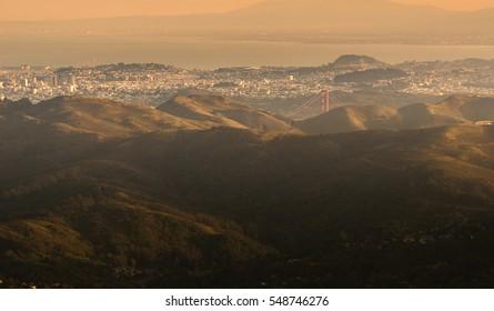 San Francisco and Golden Gate Bridge Tower from Mt.Tamalpais