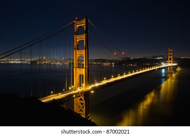 San Francisco Golden Gate Bridge and City Skyline Over the Bay at Blue Hour