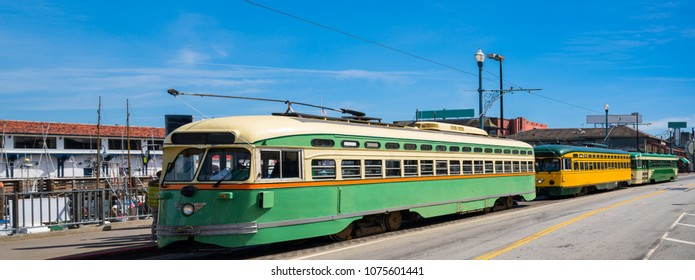 San Francisco historic streetcars with nobody during day time