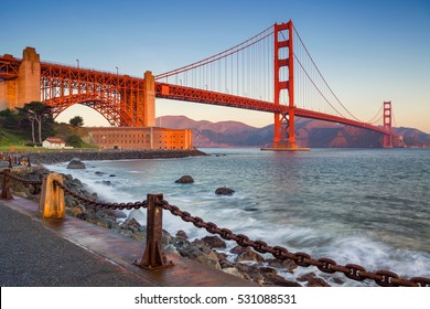 San Francisco .Image of Golden Gate Bridge in San Francisco, California during sunrise.