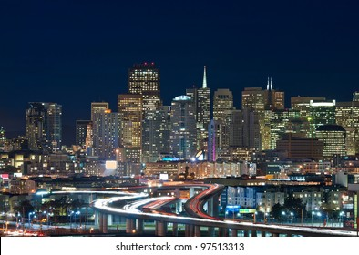 San Francisco. Image of San Francisco skyline and busy highway leading to the city.