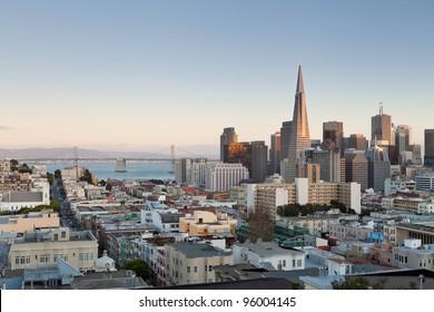 San Francisco. Image of San Francisco skyline at sunset.