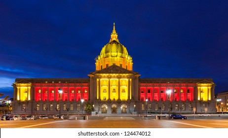 SAN FRANCISCO - JANUARY 12: City Hall in red and gold light in honor of the 49ers hosting an NFL playoff game on January 12, 2013 in San Francisco, California, USA.