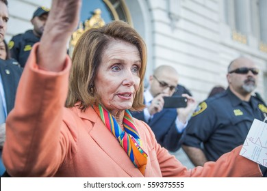 SAN FRANCISCO - JANUARY 15 2017: Nancy Pelosi, Democratic minority leader of the House of Representatives speaks to constituents after Healthcare rally at San Francisco city hall.