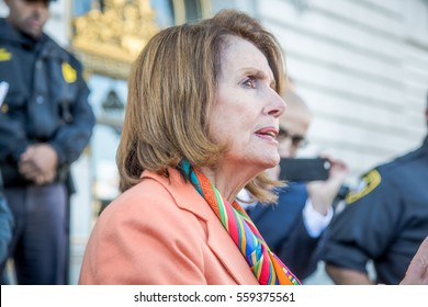 SAN FRANCISCO - JANUARY 15 2017:Nancy Pelosi, Democratic minority leader of the House of Representatives speaks to constituents after Healthcare rally at San Francisco city hall.