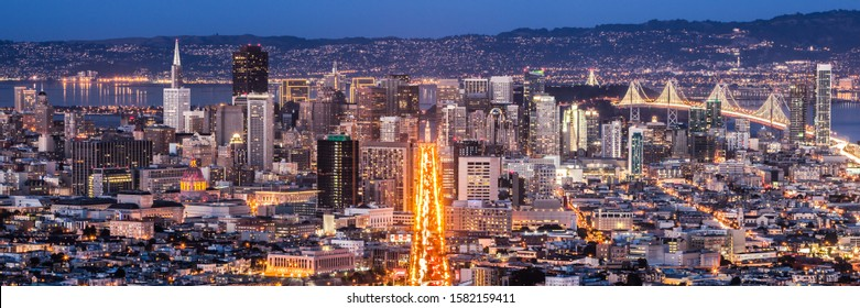 SAN FRANCISCO - JANUARY 4, 2014: Market Street and downtown, seen from Twin Peaks at night in San Francisco on January 4, 2014.