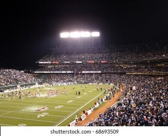 SAN FRANCISCO - JANUARY 9: Fight Hunger Bowl - UNR vs. BC: Players run off the field at half time ATT Park in San Francisco California, January 9, 2011.