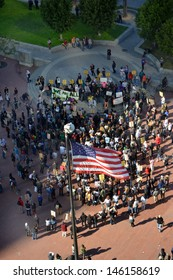 SAN FRANCISCO - JULY 14: Demonstrators congregate in Embarcadero to protest justice for Trayvon Martin on July 14, 2013 in San Francisco, CA. The verdict said George Zimmerman was not guilty.