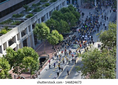 SAN FRANCISCO - JULY 14: Demonstrators march in Embarcadero to protest justice for Trayvon Martin on July 14, 2013 in San Francisco, CA. The verdict said George Zimmerman was not guilty.