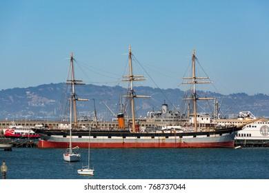 SAN FRANCISCO - JULY 17,2017 : Vintage 1886 sailing ship, Balclutha on public display at San Francisco Maritime National Historical Park in San Francisco, CA.
