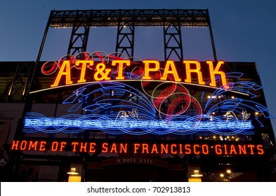 San Francisco - June 1, 2016: Neon sign of AT&T baseball park, home of the San Francisco Giants.