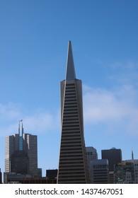 San Francisco - June 16, 2013: Transamerica Pyramid and tall buildings of downtown of San Francisco City, California.