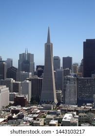 San Francisco - June 17, 2010: Transamerica Pyramid and tall buildings of downtown of San Francisco City, California.