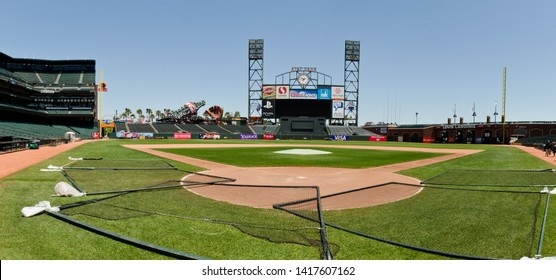 San Francisco - June 2, 2019: Panoramic view of AT&T baseball stadium, home of the San Francisco Giants.