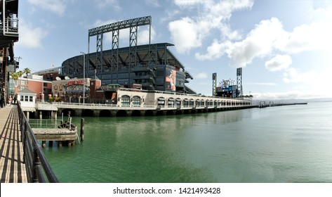 San Francisco - June 2, 2019: AT&T baseball park, home of the San Francisco Giants and Willie McCovey Cove.