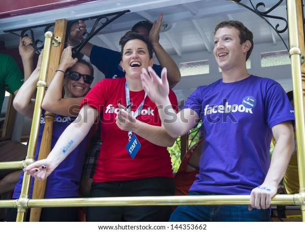 SAN FRANCISCO JUNE 30 : Facebook CEO Mark Zuckerberg Marched With 700 Facebook Employees In San Francisco's Gay Pride Parade on June 30 2013