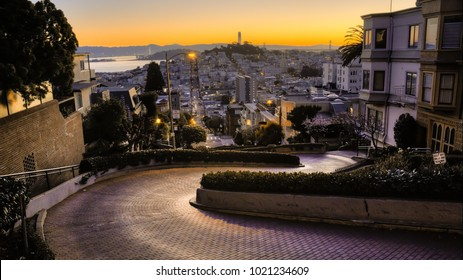 San Francisco Lombard Street. Early morning light at the World's Crookedest Street., a San Francisco tourist attraction.