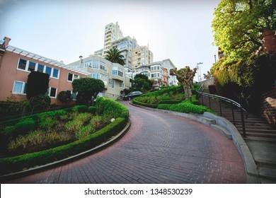 San Francisco , Lombard street wide angle , daylight.