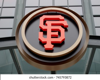 SAN FRANCISCO - March 8: AT&T Park - Home of the Giants - SF Logo during day at the entrance of the  ballpark taken on March 8, 2016 at Att Park in San Francisco California.
