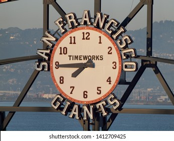 San Francisco - May 11, 2010: San Francisco Giants Scoreboard Clock by TimeWorks displaying the time of about 7:45pm during a game at ATT Park in San Francisco, California.