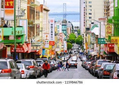 SAN FRANCISCO - MAY 19 2015: General view of Chinatown in San Francisco, California, the oldest Chinatown in North America and the largest Chinese community outside Asia.