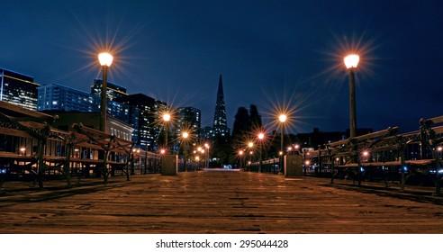 SAN FRANCISCO - MAY 19 2015: Transamerica Pyramid in San Francisco skyline at night. The Transamerica Pyramid is the tallest skyscraper in the San Francisco skyline.