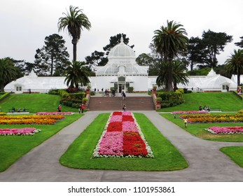 San Francisco, May 2018 - Conservatory of Flowers, a greenhouse and botanical garden that houses a collection of rare and exotic plants in Golden Gate Park, San Francisco, California