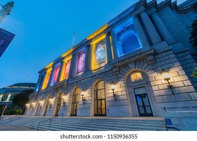 San Francisco, MAY 22: Night view of the War Memorial Opera House on MAY 22, 2017 at San Francisco, California