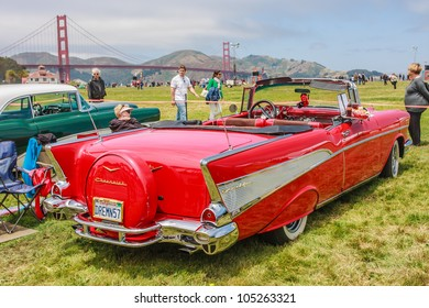 SAN FRANCISCO - MAY 27: A 1957 Chevrolet Bel Air Convertible is on display during the Golden Gate Bridge 75th Anniversary in San Francisco on May 27, 2012