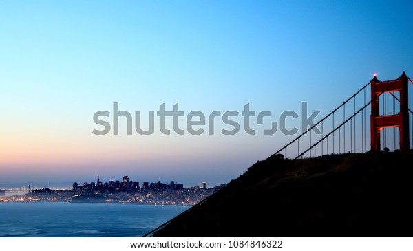 San Francisco Night Golden Gate Bridge Blue Sky
