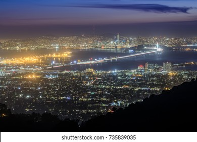 San Francisco Night Lights. Grizzly Peak, Berkeley Hills, Alameda and Contra Costa Counties, California, USA.