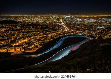 San Francisco night time shot from Twin peak