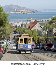 SAN FRANCISCO - NOVEMBER 2: The Cable car tram, November 2nd, 2012 in San Francisco, USA. The San Francisco cable car system is world last permanently manually operated cable car system.