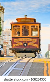 SAN FRANCISCO - NOVEMBER 26, 2010: Passengers enjoy a ride in a cable car in San Francisco, California. Nov 26, 2010. It is the oldest mechanical public transport in San Francisco which is in service since 1873.