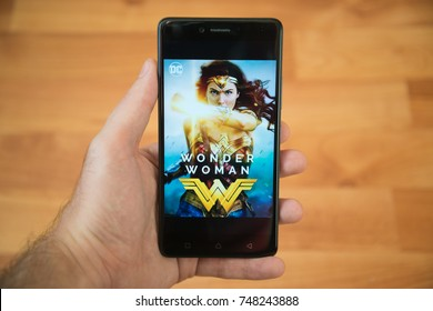 San Francisco, november 4, 2017: Wonder woman movie poster in google play store on mobile phone screen