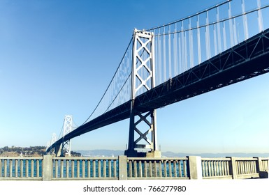 San Francisco - Oakland Bay bridge during sunny day.