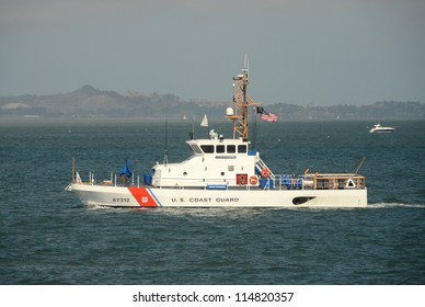 SAN FRANCISCO - OCTOBER 2: US Coast Guard cutter patrols the San Francisco Bay area on October 2, 2012 ahead of the Americas Cup sailing race.
