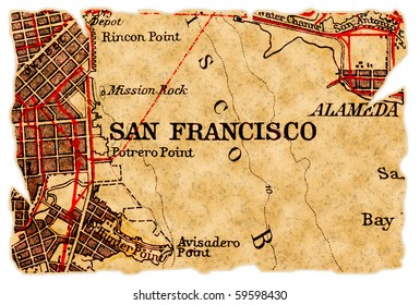 San Francisco on an old torn map from 1949, isolated. Part of the old map series.