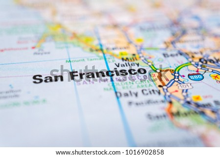 San Francisco On USA Map Stock Photo (Edit Now) 1016902858 ...