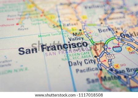 San Francisco On USA Map Stock Photo (Edit Now) 1117018508 ...