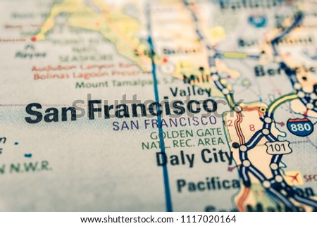 San Francisco On USA Map Stock Photo (Edit Now) 1117020164 ...